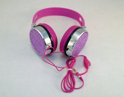 Bling Headphones For Girls, Jeweled Work With Mobile Phones, Tablets, Computers, Mp3 Players, Iphones, Ipods, And Other Audio Sources With 3.5Mm Audio Jack. Fashionable, Smart Audio Headphones. Color - Purple - Look Cool Stereo Headphones Studded Bling Je