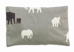summer & sage, Mustard Seed Infant Head Pillows, organic cotton, small, elephants, grey