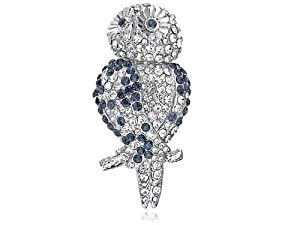 Clear Sapphire Blue Crystal Rhinestone Cute Hooting Happy Owl Perched Brooch Pin