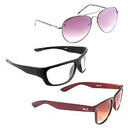 Elligator Stylish Aviator Spartiate Purple And White Nightvision With Brown Wayfarer Sunglasses Combo ( Set of 3 )