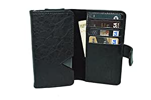 TOTTA PU Leather Wallet Pouch with Card Holder For Archos 50b Helium 4G- BLACK