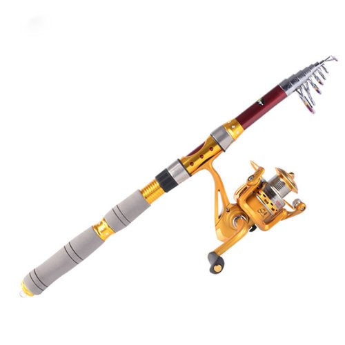 2.4M 7.87Ft Portable Telescope Fishing Rod Travel Spinning Fishing Pole Red