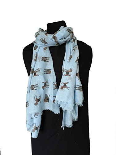 pamper-yourself-now-womens-brown-tan-beagles-long-scarf-180cm-x-70cm-blue