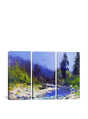 Yuri Pysar The Mountanious River Gallery Wrapped Canvas Print, Triptych
