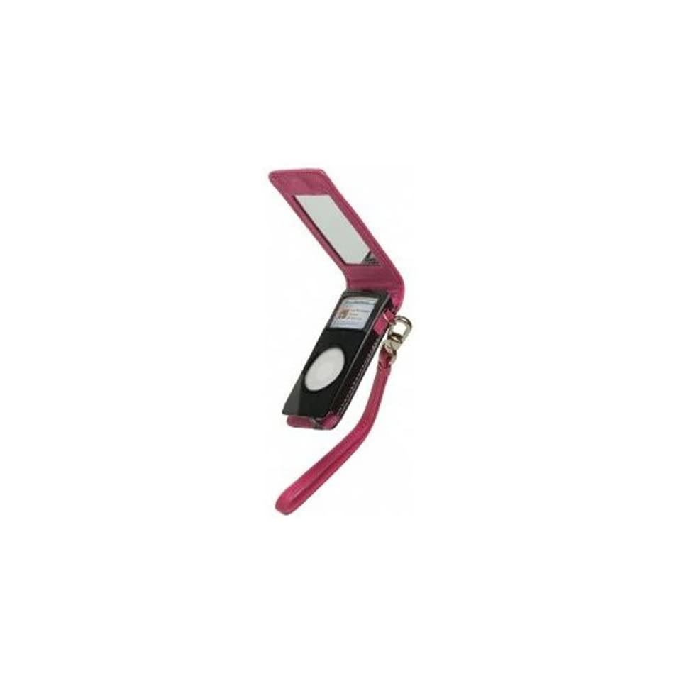 Fashionation iPod Nano Leather Flip Case with Built In Mirror in Pink/Black