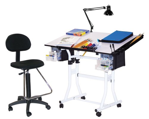 Martin Creation Station Art-Hobby Table and Chair Set, White with Tiltable White Top, 24-Inch by 40-Inch Size Surface