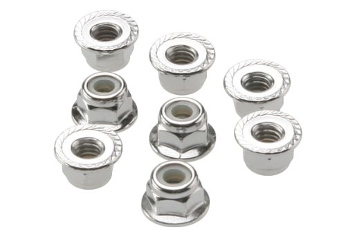 Traxxas 3647 Flanged NY lock Nuts, 4mm, Set of 8