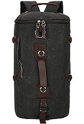 MeliTech Men Outdoor Backpack Canvas Bucket Travel Hiking School Bag