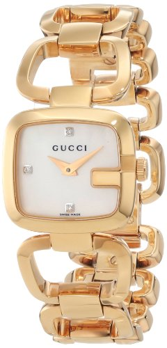 Gucci Women's YA125513 G-Gucci White Mother of Pearl Dial with Diamonds Watch