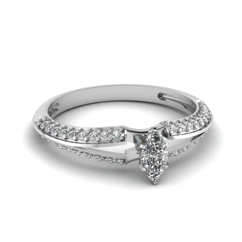 Fascinating Diamonds 0.70 Ct Marquise Cut Diamond Knife Edge Engagement Ring Pave Set Vs2-E Color 14K Gia
