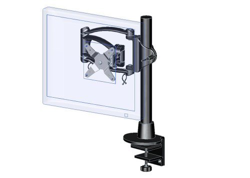 Ergotech Single Articulating Lcd Monitor Arm On 16-Inch Pole, Desk Clamp (200-C16-B01)