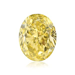 1.08Cts Fancy Yellow Loose Diamond Natural Color Oval Shape GIA Certified