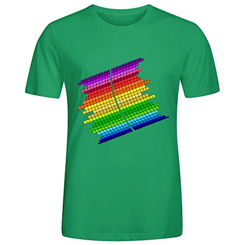 rainbow-equalizer-men-tees-crew-neck-green-printed