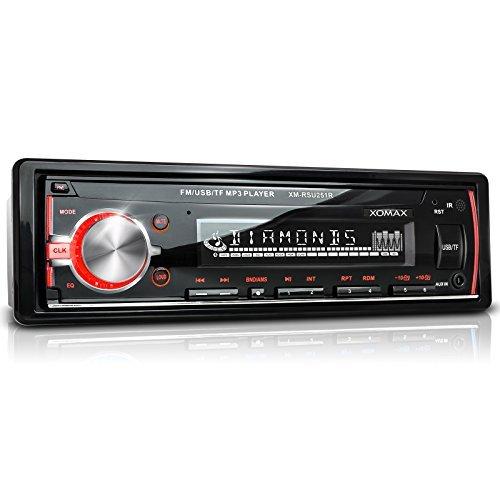 XOMAX XM-RSU251R Autoradio senza lettore CD + Porta USB & Slot Micro SD: entrambe fino a 32GB per MP3, WMA + RDS sintonizzatore radio + AUX IN + LED colori: rosso + Dimensioni standard single DIN (1 DIN) + Telecomando e cornice metallica esterna inclusi