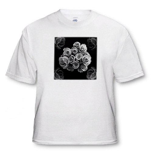 Dreamy silver gray rose bouquet surrounded by four roses on black background - White Infant Lap-Shoulder Tee (18M)