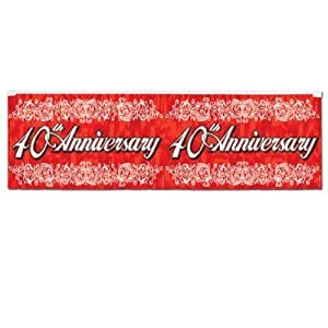 FR Metallic 40th Anniversary Fringe Banner Party Accessory (1 count) (1/Pkg) from The Beistle Company