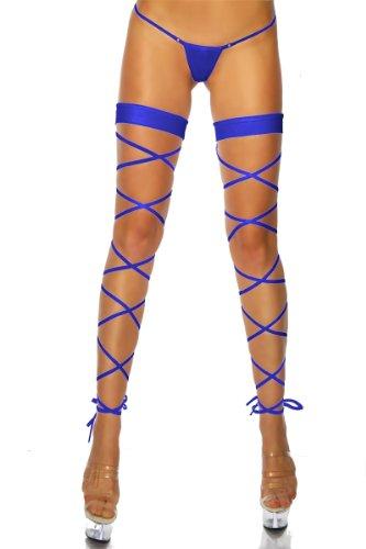 Cindio sexy Scharfe Clubwear Gogo Schnür-Leggings inklusive String in Blau