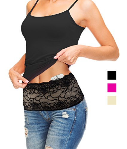 Stashbandz® Travel Money Belt & Fanny Pack Pretty Lace with Silicone Grip | 4 Colors 3 Sizes 4 Wide Pockets Fit All Cell Phones - Iphone6, 6+, 6s Plus, Note 1- 5 & Google Nexus 6 & Android Smartphones