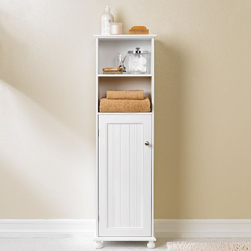 brylane home bathroom storage cabinet in country style white 0