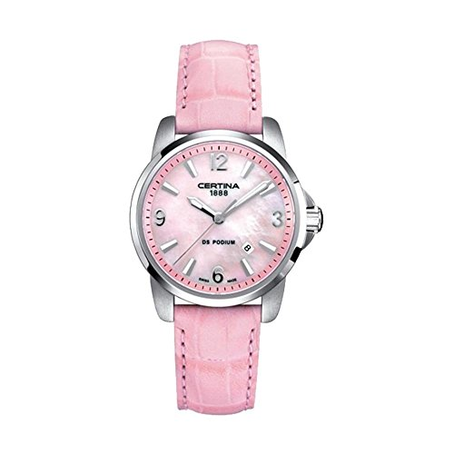Certina Women's DS Podium 32mm Pink Leather Band Steel Case Quartz MOP Dial Watch C001.210.16.157.00