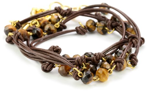 Accessories & Beyond Brown Leather Wrap-Around Bracelet