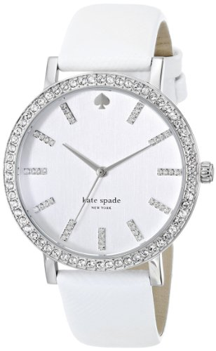 kate spade new york Women's 1YRU0444 Metro Grand Crystal-Accented Stainless Steel Watch with Leather Band