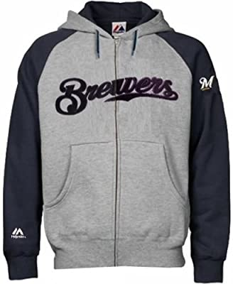 Milwaukee Brewers MLB Majestic Men's Full Zip Classic Hoodie Big & Tall Sizes