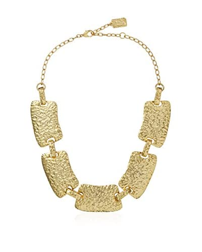Karine Sultan Matte Gold Choker Necklace Featuring Bold Hammered Rectangular Links