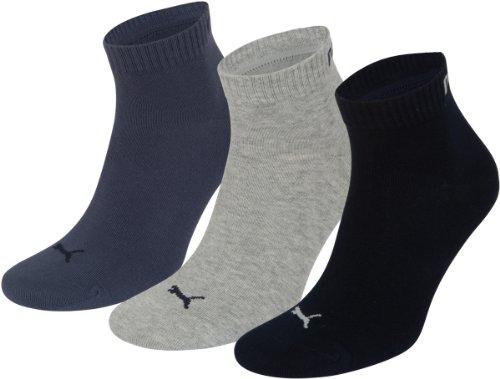 Puma Quarter 3P, Calza Sportiva alla Caviglia Unisex Adulto, Blu (Blu Navy/Grigio/Blu Scuro), 39/42, Confezione da 3