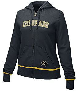 Colorado Buffaloes Ladies Black FZ Full-Zip Embroidered Hoody By Nike Team Sports by GametimeUSA