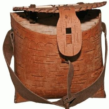 Rustic Birch Bark Wood Fishing Basket Pouch For Fisherman With Leather Hook Strap And Accents (Keyhole Closure) 7