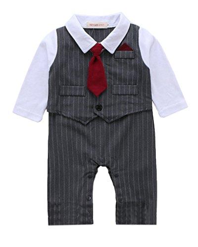 Minetom Bambini Ragazzi Primavera Autunno Manica Lunga Pagliaccetto Abiti Strisce Vest Con Rosso Cravatta Grigio 90
