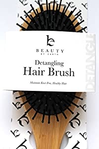 Detangling Hair Brush - Bamboo Brush Best for All Hair Types (Thin, Fine, Thick, Dry, Oily, Curly, Kinky) to Detangle and Style - Natural Healthy Locks Without Knots or Tangles - For Kids and Adults