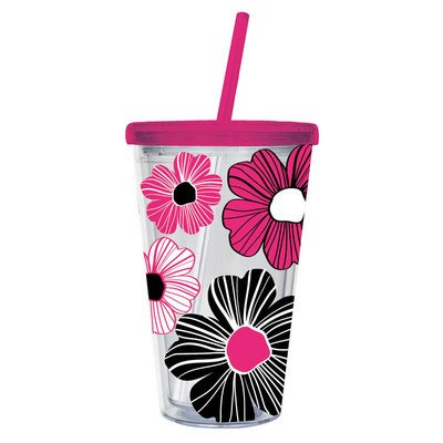 Floral Insulated Cup Color: Pink front-133484