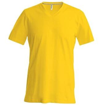 Kariban Herren T-Shirt Slim Fit V-Ausschnitt (Small) (Gelb)