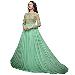 Cenizas Cream & Green Colour Soft Net Embroidered Semi-stitched Gown