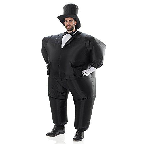 Aufblasbares Kostüm Fesch Smoking Fett Anzug, Fasching Karneval Party Outfit
