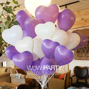 12 Inch White & Purple Heart Shape Balloons Latex Balloons 50 Pcs/lot