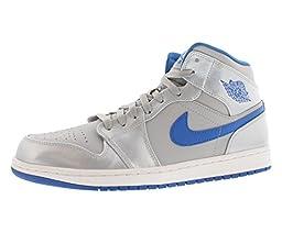 Nike Jordan Men\'s Air Jordan 1 Mid Wolf Grey/Sport Blue/White Basketball Shoe 11.5 Men US