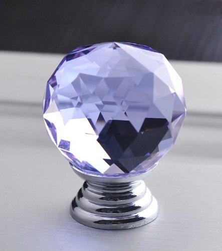 Glass Handle, Drawer Handle Round Glass Knob Cabinet, Chest Of Drawers, Dressers, Cabinets And Wardrobes (Purple) front-115948
