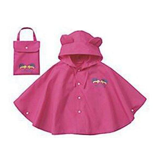 Highdas bambino bambini pioggia Poncho con cappuccio Poncho impermeabile Suit Size 100-120cm (M / Red)