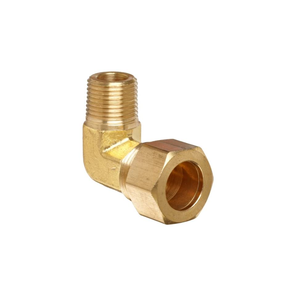 Anderson Metals Brass Tube Fitting, Elbow, 3/4 Compression x 1/2 Male Pipe