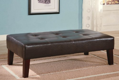 Strange Dark Brown Leather Ottoman With Wooden Legs By Coaster Ncnpc Chair Design For Home Ncnpcorg