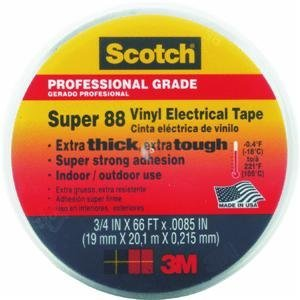Scotch Super 88 Electrical Tape, .75-Inch by 66-Foot by .0085-Inch