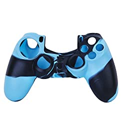 Imported Camo Silicone Protective Skin Case Cover for Sony PlayStation 4 PS4 Controller -Black-Blue