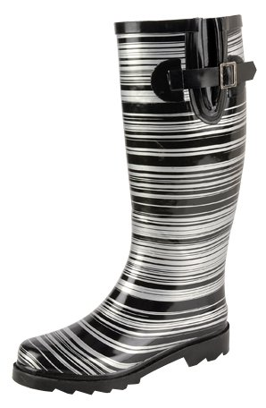Natural Breeze Women's Rubber Rain Boots Silver Rings Print Bette-13