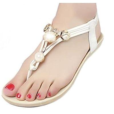Donalworld Bohemia Beaded Flat Shoes Beach Sandals Pearl Slippers Flip Flops White