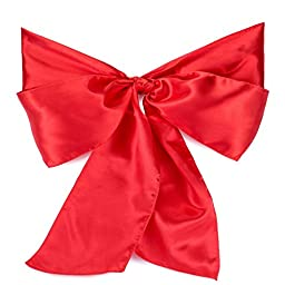 Lann\'s Linens - 100 Satin Chair Cover Bow Sashes - for Wedding or Party Use - Red