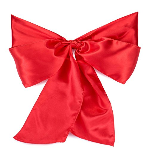 Lann's Linens - 100 Satin Chair Cover Bow Sashes - for Wedding or Party Use - Red