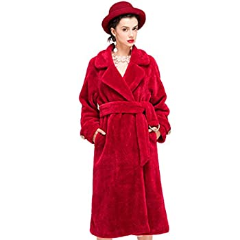 YIGELILA Women's Vintage Oversized Shearling Belted Long Fur Coat Wool Outwear